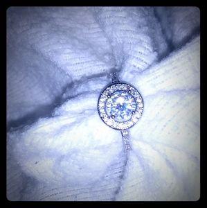 S925 Halo style lab modified diamond ring